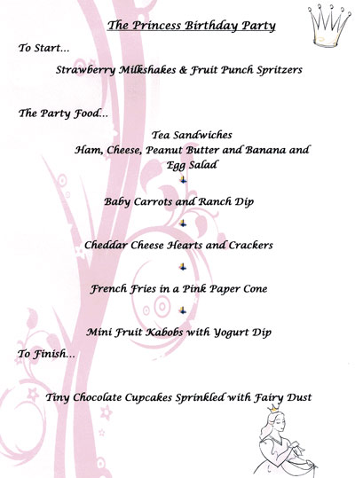 Princess Birthday Party Menu