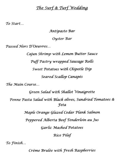 Surf and Turf Wedding Menu